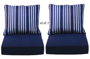 "Comfort Classics Inc. Set of 2 Deep Seating Outdoor Dining Chair Cushion: Pillow: 24"" W x 27"" L x 5"" T; Seat: 24"" W x 24"" L x 6"" T in Spun Polyester Fabric Peacoat Stripe"