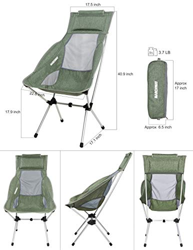 MARCHWAY Lightweight Folding High Back Camping Chair with Headrest, Portable Compact for Outdoor Camp, Travel, Picnic, Festival, Hiking, Backpacking