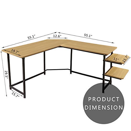 Sigetree Modern L-Shaped Desk Corner Computer Desk PC Laptop Table Wood Workstation Home Office Furniture,with Reversible and Adjustable Bookshelves & CPU Stand(Natural)