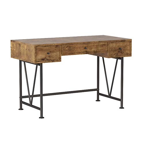 Glavan 3-Drawer Writing Desk with Antique Nutmeg and Black