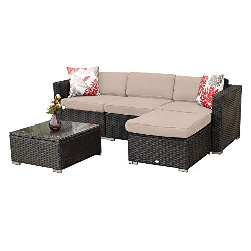 PHI VILLA 5-Piece Outdoor Furniture Set Rattan Wicker Patio Sectional Sofa with Tea Table and Free Patio Sofa Cover, Blue
