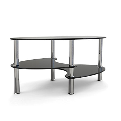 Ryan Rove Orion - Oval Two Tier Glass Coffee Table - Coffee Tables for Living Room, Kitchen, Bedroom and Office - Glass Shelves Under Desk Storage - Clear and Black Glass
