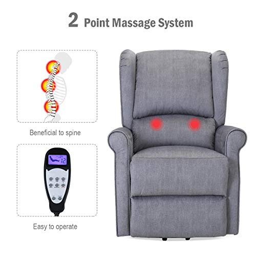 TANGKULA Electric Massage Recliner Chair, Lumbar Massage Sofa, Home Theater Seating, Leisure Lounge, Padded Seat, Living Room Office Furniture, with Side Pocket and Remote Control (Beige)