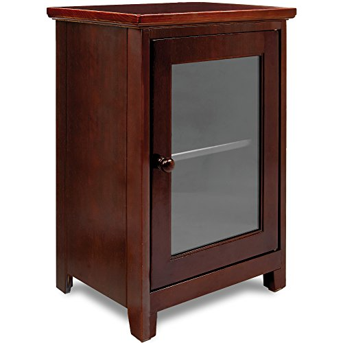 Stony-Edge Espresso Night Stand – Easiest Assembly, No Tools Required - Premium Two Shelf Wooden Bedside Table or End Table with Glass Door - Heavy Duty Elegant Accent Furniture
