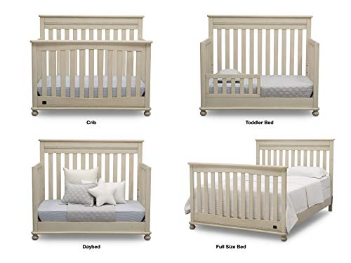 Baby Nursery Furniture Set - 6 Pieces Including Convertible Crib, Dresser, Crib Mattress, Toddler Rail, Changing Top, Changing Pad - Simmons Kids Franklin Storm Grey