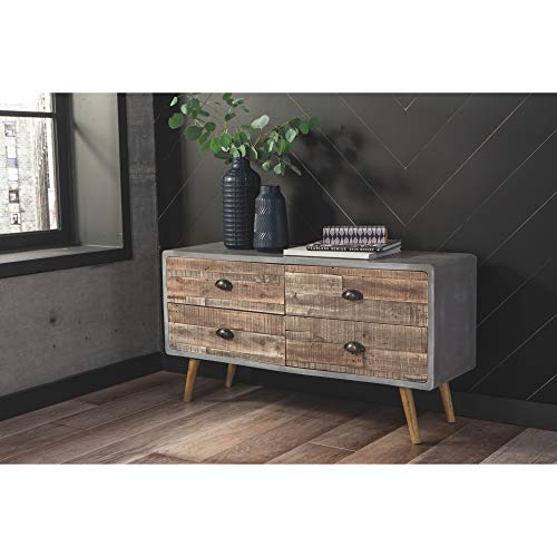 Ashley Furniture Signature Design - Fair Ridge 3-Door Accent Cabinet - Contemporary - Hand Carved Solid Wood - Antique Gray Finish