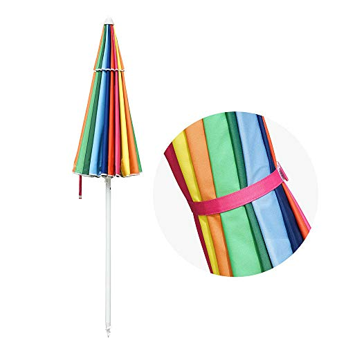 Yescom 6 ft Metal Rainbow Beach Patio Umbrella 16 Rib Tilt Market Table Umbrella Outdoor Sunshade Cover Sand Anchor