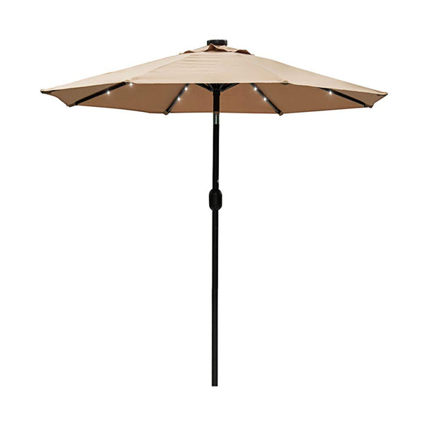 Sundale Outdoor 7 ft Solar Powered 24 LED Lighted Patio Umbrella Table Market Umbrella with Crank and Push Button Tilt for Garden, Deck, Backyard, Pool, 8 Steel Ribs, Polyester Canopy (Red)