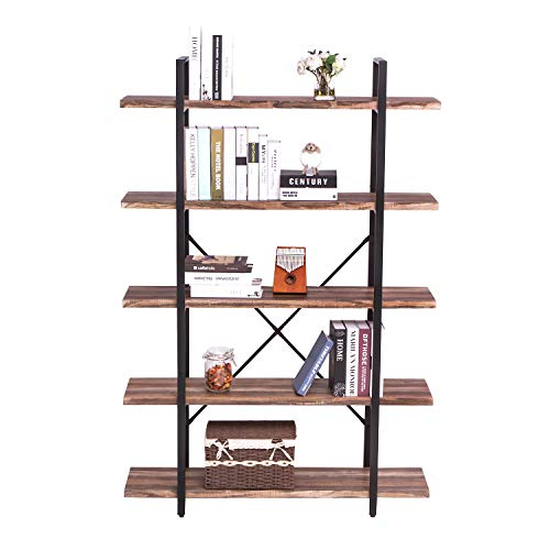 IRONCK Bookshelf and Bookcase 5-Tier, 130lbs/shelf Load Capacity, Industrial Bookshelves Home Office Furniture, Wood and Metal Frame