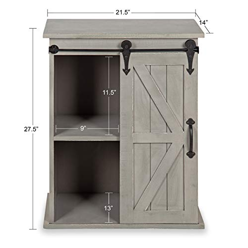 Kate and Laurel Cates Wooden Freestanding Storage Cabinet Side Accent Table with Sliding Barn Door, Antique White Finish