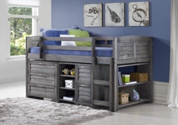 Custom Kids Furniture Grey Twin Loft Beds with Dresser and Bookshelf - Free Storage Pockets
