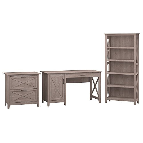 Bush Furniture Key West 54W Computer Desk with Storage, 2 Drawer Lateral File Cabinet and 5 Shelf Bookcase in Washed Gray