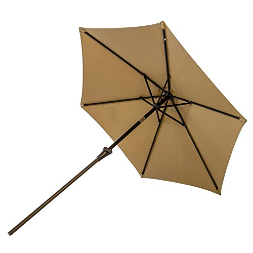 FLAME&SHADE 7.5' Solar LED Outdoor Patio Umbrella Market Style with Lights for Outside Table Balcony or Deck Shade with Tilt, Beige