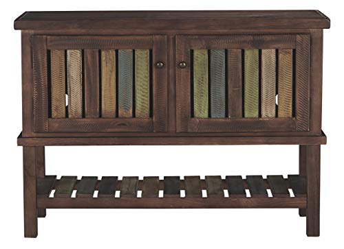 Ashley Furniture Signature Design - Mestler Sofa Table - Rustic Style Entertainment Console - Rectangular - Brown with Multi Colored Shelves