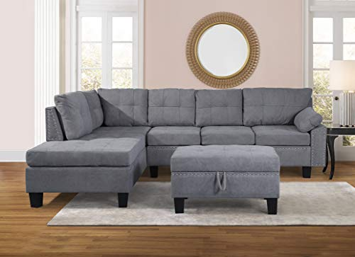Harper & Bright Designs Modern Sectional Sofa Set with Chaise Lounge for Living Room L Shape Home Furniture 4 Seat(Grey), Without Storage Ottoman, Type1