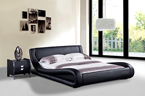 US Pride Furniture Dona Faux Leather Modern Bed, Queen, Black