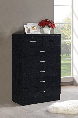 Hodedah 7 Drawer Chest, Five Large Drawers, Two Smaller Drawers with Two Locks, Black