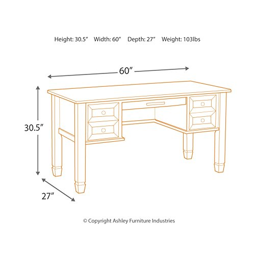 Ashley Furniture Signature Design - Townser Home Office Desk - Traditional - Grayish Brown Finish