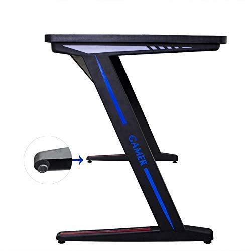 Gaming Desk Computer Table Z Shape, Bizzoelife E Sports Racing Table with LED Light Ergonomic Comfortable Height (47 Inches)