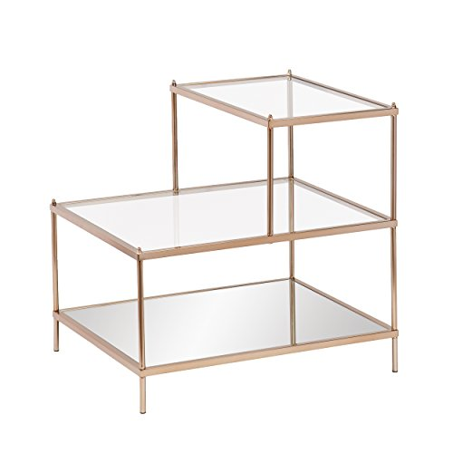 Southern Enterprises Knox Cocktail Table - Metallic Gold Metal Frame w/Glass Tops - Glam Style Décor