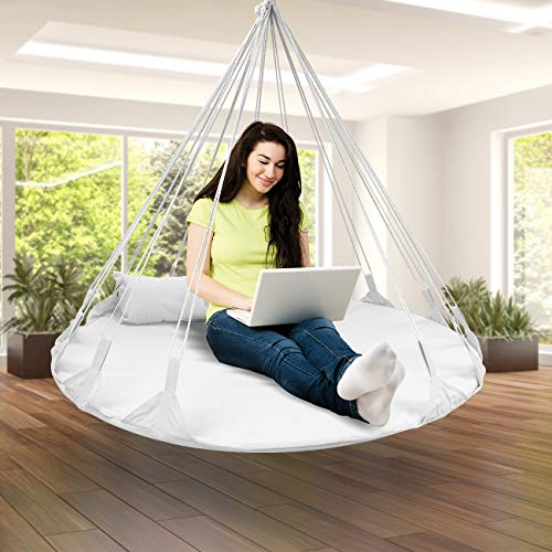 Sorbus Hanging Swing Nest with Pillow, Double Hammock Daybed Saucer Style Lounger Swing, 264 Pound Capacity, for Indoor/Outdoor Use (Swing Nest - Green)