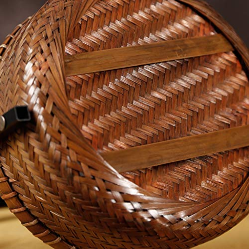 LiYL Traditional Picnic Basket Retro Picnic Basket Bamboo Basket Basket Tea Storage Shopping Basket New Chinese Wrought Iron Picnic Box
