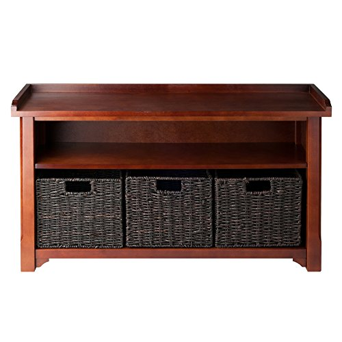Winsome Wood Granville Storage Bench with 3 Foldable Baskets,