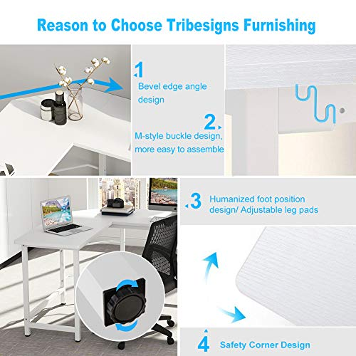 Tribesigns Modern L Shaped Desk, Corner Computer Office Desk PC Laptop Gaming Table Workstation for Home Office, White Gold Metal Frame