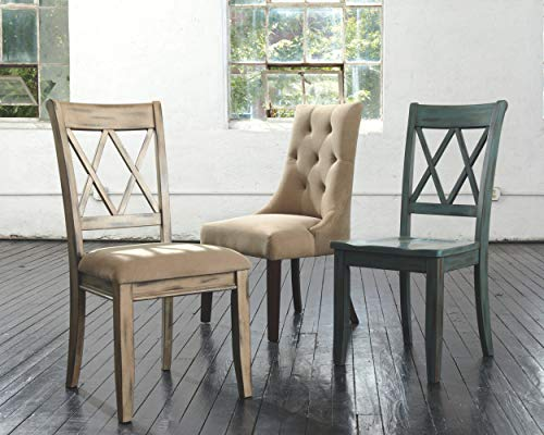 Ashley Furniture Signature Design - Mestler Dining Room Side Chair - Wood Seat - Set of 2 - Blue/Green