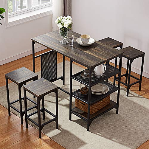 O&K FURNITURE 5-Piece Dining Room Bar Table Set, Modern Industrial Bistro Restaurant Dining Table and Stool Set, Home Kitchen Furniture, Oak Finish