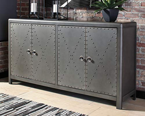Ashley Furniture Signature Design - Rock Ridge 2-Door Accent Cabinet - Antique Gunmetal Finish - Black Metal Door Pulls - Nailhead Trim