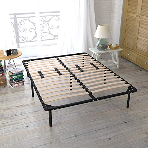 Giantex Metal Bed Frame Platform Mattress Foundation w/Wood Slats Bedroom Furniture (Queen Size)