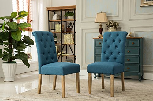 Roundhill Furniture Habit Grey Solid Wood Tufted Parsons Dining Chair (Set of 2), Gray
