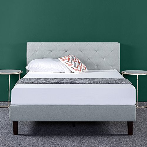 Zinus Shalini Upholstered Diamond Stitched Platform Bed / Mattress Foundation / Easy Assembly / Strong Wood Slat Support / Dark Grey, Queen