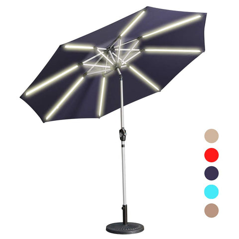 Aok Garden LED Outdoor Umbrella,9 Feet Solar Powered LED Light Bars Patio Umbrella with Push Button Tilt and Crank Outdoor Market Umbrella Garden Poolside Sunshade(Solar LED,Wine Red)
