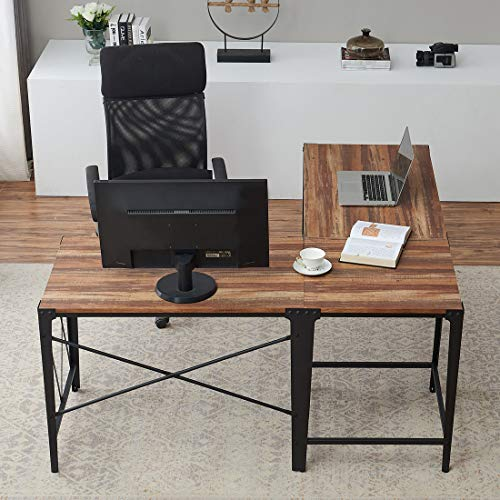 O&K Furniture L-Shaped Desk Corner Computer Desk with Storage Shelves for Home Office, Oak