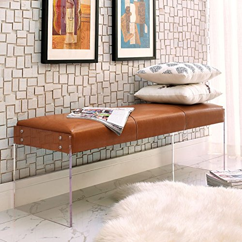 Tov Furniture Envy Paris Velvet/Acrylic Bench, Black/White