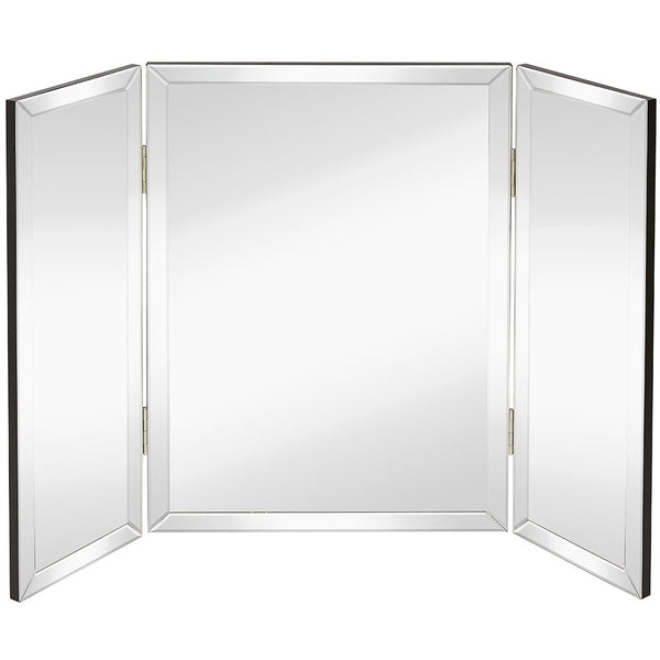 "Hamilton Hills Trifold Vanity Mirror | Solid Hinged Sided Tri-fold Beveled Mirrored Edges | 3 Way Hangable on Wall or Tabletop Cosmetic & Makeup Mirror 28"" x 40"""