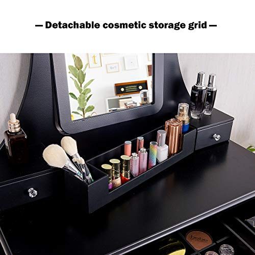 CHARMAID Vanity Set with 5 Drawers, 2 Dividers, Removable Storage Box, Dressing Table Set with Square Mirror & Cushioned Stool for Women Girls, Bedroom Bathroom Furniture Makeup Vanity Set (Coffee)