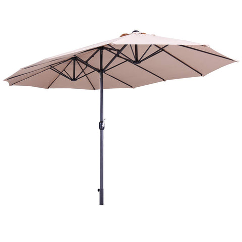 LAZYMOON 15' Ft Hanging Umbrella Patio Sun Shade Offset Outdoor Market with Crank Tilt Tan