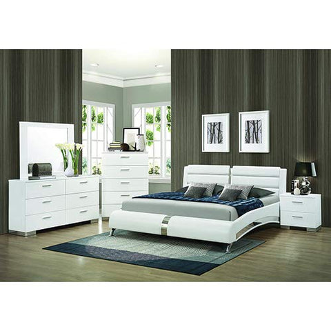 "Coaster Home Furnishings 300345Q Upholstered Bed, 65"" W x 97.5"" D x 40"" H, White/Chrome"