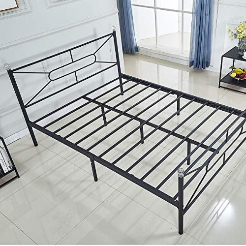 Metal Bed Frame Platform with Steel Headboard and Footboard Mattress Foundation Bedroom Furniture Box Spring Replacement Victorian Style Black (Full Size)
