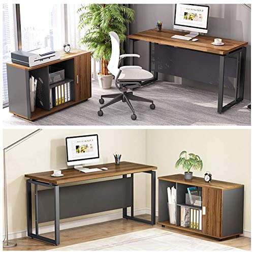 "LITTLE TREE L-Shaped Computer Desk, 55"" Executive Desk Business Furniture with 39"" File Cabinet Storage Mobile Printer Filing Stand for Office (Dark Walnut)"