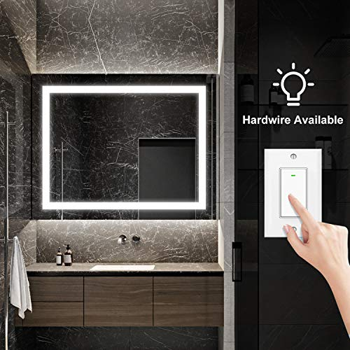 "smartrun Bathroom LED Lighted Backlit Mirror, Anti-Fog Bathroom Makeup Vanity Lighting Mirror with Touch Button and Dimmer Light-Jazz 24"" WX36 H"