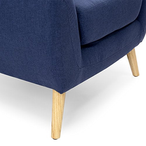 Best Choice Products Linen Upholstered Modern Mid-Century Tufted Accent Chair for Living Room, Bedroom, Yellow
