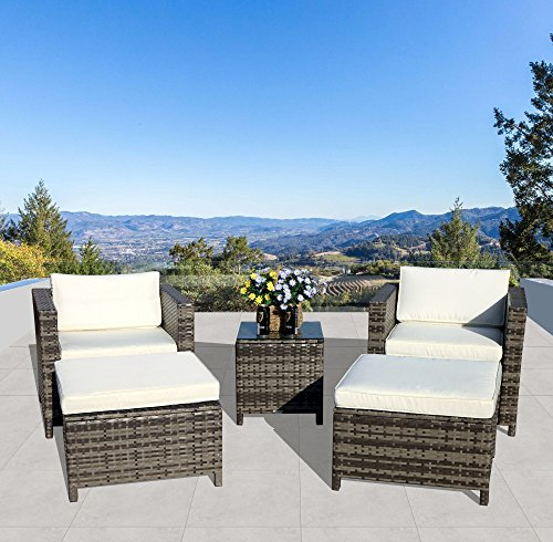 Patiorama 5pc Outdoor PE Wicker Rattan Sectional Furniture Set with Cream White Seat and Back Cushions, Blue Throw Pillows, Steel Frame, Gray