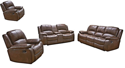 Betsy Furniture 3PC Bonded Leather Recliner Set Living Room Set in Brown, Sofa Loveseat Rocker Chair Pillow Top Backrest and Armrests 8018-Brown (Livingroom Set 3+2+1)