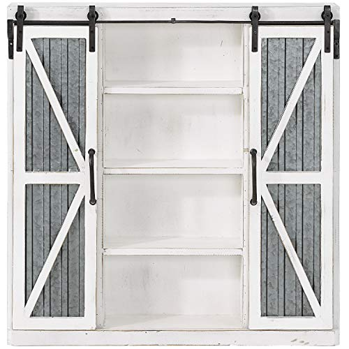 "FirsTime & Co. 70017 Westerly Barn Door Cabinet, 34"" H x 33.5"" W x 5.5"" D, Natural"