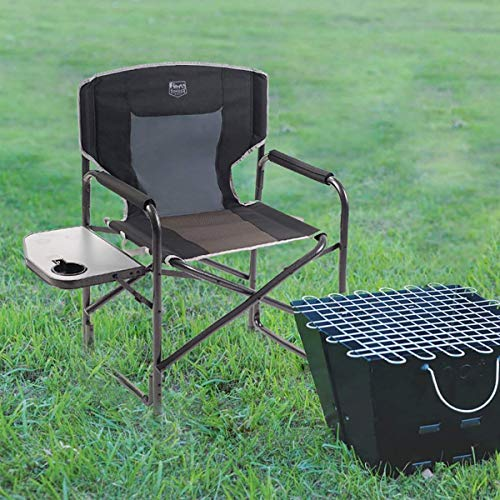 Timber Ridge Director's Chair Folding Aluminum Camping Portable Lightweight Chair Supports 300lbs with Side Table, Outdoor