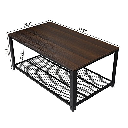 VASAGLE Industrial Coffee Table with Storage Shelf for Living Room, Wood Look Accent Furniture with Metal Frame, Easy Assembly, Rustic Brown ULCT61X